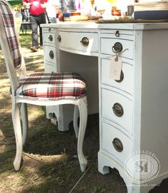 Salvaged Inspirations featuring Pepper Pot Place painted furniture at Christie Antique Show |  Gorgeous painted Annie Sloan Furniture... and don't you love the plaid chair!