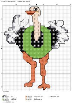 alfabeto degli animali: O: ostrich