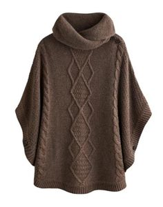 Combat the cold and stay as cosy as can be with this throw-over-anything poncho that features a cable knit detail. This easy-to-wear knit has a shawl collar to keep draughts away from the neck too. Poncho Knitting Patterns, Knit Patterns, Free Knitting, Knitted Cape, Poncho Sweater, Cable Sweater, Jumper, Pulls, Capes
