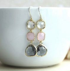 Pink, Grey and Clear Glass Drop Gold Earrings from Marolsha.