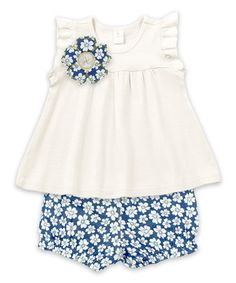 Ivory Angel-Sleeve Top & Blue Floral Bloomers #zulily #zulilyfinds