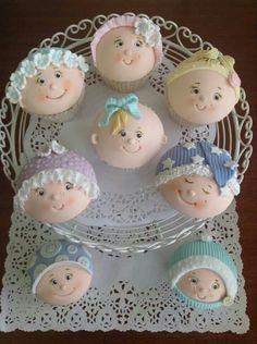 baby cupcakes Baby Cupcake, Fondant Baby, Fondant Cupcakes, Cute Cupcakes, Baby Cookies, Baby Shower Cupcakes, Shower Cakes, Cupcake Cookies, Idee Baby Shower