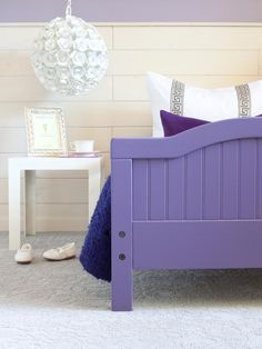Looking for Contemporary Bedroom and Kids Room ideas? Browse Contemporary Bedroom and Kids Room images for decor, layout, furniture, and storage inspiration from HGTV. Girls Bedroom, Bedroom Decor, Bedroom Colors, Master Bedroom, Diy Toddler Bed, Toddler Stuff, Painted Beds, Drapery Panels, Little Girl Rooms