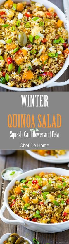 Mediterranean warm quinoa salad with butternut squash, cauliflower, bell peppers, and has delicious sweet and salty notes of honey, raisins, and feta cheese.