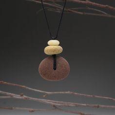 Beach stone necklace2 beach stones a personal door SueDavisJewelry