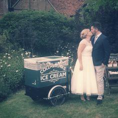 Vintage wedding celebrations with ice cream tricycle. Cold Cream, Ice Cream, Tricycle, Celebrity Weddings, Special Events, Plum, Celebrations, Couple Photos, Couples