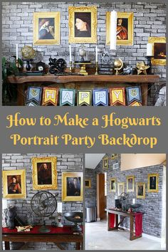 How to Make a Hogwarts inspired Portrait Wall for your Party Backdrop! A must have for any awesome Harry Potter party!
