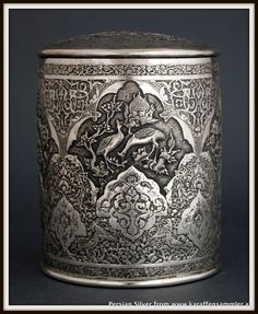 Finely engraved persian solid silver tea caddy 1940/50