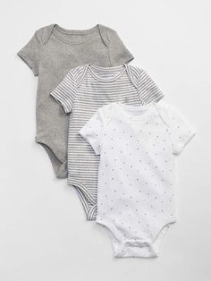 23fc28a7be9 Gap Babies  First Favorite Short Sleeve Bodysuit (3-Pack) Light Heather Gray