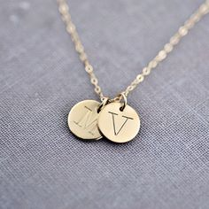 Wear your favorite letters on a recycled solid 14K gold pendant. Perfect as a personalized gift for someone near & dear to your heart or as a fashionable necklace for you. | Made on Hatch.co: https://www.hatch.co/products/63991-twin-solid-14k-gold-initial-necklace#/