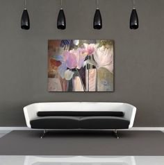 'Standing Tall' 40x50 abstract floral  By Dorothy Ganek viewed in a corporate interior