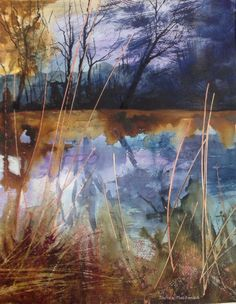 Winter on the Stour - watercolour Davida Macdonald