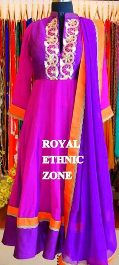 STYLE NO. REZ 238 PURPLE ANARKALI SUIT PRICE- 6500/- FABRIC- COTTON , GEORGETTE EMBROIDERY- THREAD WORK