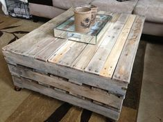 The simple and broad rectangular shape pallet coffee table is looking long-lasting and also the best use of your old wastage pallets. There is wheels fix under it; through these wheels you can move it easily in spite of its heavy weight. Its original wood color is also matching with the sofa set.