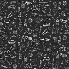 Seamless pattern with hand drawn doodle BBQ icons set. Vector illustration summer barbecue symbols collection Cartoon meals, drinks, ingredients and decoration elements on white background Sketch Menu Card Design, Food Menu Design, Bbq, Summer Barbecue, Food Graphic Design, Logo Design, Carta Restaurant, Pizza Art, Easy Canvas Painting