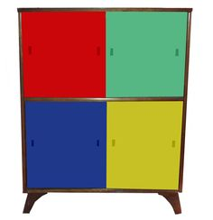 Mid 20th Century Colour Block Glazed Cabinet.