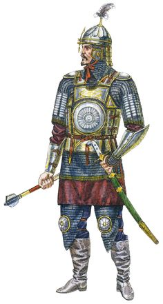 Kazakh commander in mirror armour, 16th-17th century