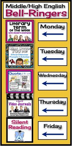Begin each of your middle or high school English classes with these daily bell-ringer routines! This comprehensive FULL YEAR resource includes everything you need to start each class off with an engaging activity! All you have to do is choose the day of t Middle School Reading, Middle School Classroom, Middle School English, English Classroom, Teaching Language Arts, English Language Arts, Teaching English, Education English, Teaching Biology