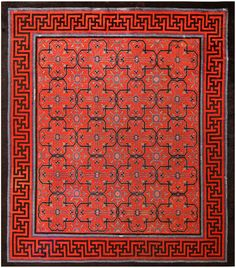 Early 18th Century Antique Chinese Geometric Rug 48032 Main Image - By Nazmiyal