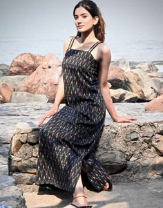 Black Ikat Slip Dress from the house of Threeness. Inspired by Indian crafts, Threeness presents you t Black Dress Outfits, Summer Outfits, Western Dresses, Ikat, Indian Crafts, Boho, Casual, Modern, How To Wear