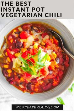 This is the BEST Instant Pot Vegetarian Chili ever! It's smoky and hearty, rich and spicy. It is family-friendly, ready in 30 minutes, and will satisfy both meat-eaters and vegetarians alike. Made with 3 types of beans, packed with veggies, and under 300 calories per serving!