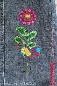 skirt refashion with hand embroidery by Bouclenoire, via Flickr