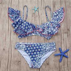 e4b48aea791 Swimsuit Female High Waist Bikinis 2018 Women Ruffle Bandeau Sexy Swimwear  Push Up Bathing Suit Beachwear Mayo Beach Bathers