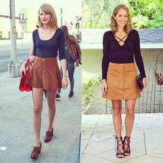 #TaylorSwift #lookforless on the #blog today! $10 top and $33 skirt. Link in profile or text JEF to 33733 to shop via email. #suedeskirt #buttonfrontskirt #70sfashion #laceupheels #celebstyle #ootd #fashionblogger #budgetfashion