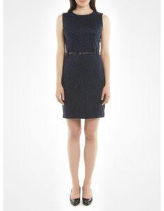 Leopard-print Ponte dress with belt - Blue Effortless dresses