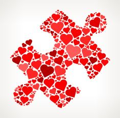 Puzzle Piece Red Hearts Love Pattern vector art illustration