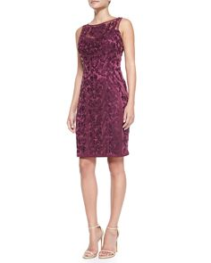 Sleeveless Lace-Overlay Cocktail Dress, Plum