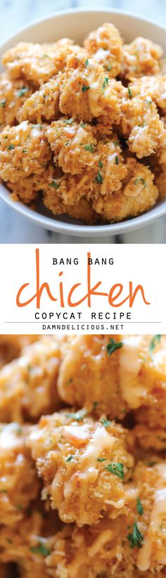 Bang Bang Chicken - cup mayonnaise 2 tablespoons sweet chili sauce 1 tablespoon honey 2 teaspoons Frank's Hot Sauce Amazingly crisp chicken bites drizzled with sweet chili mayo - so good, you'll want to double or triple the recipe! Think Food, I Love Food, Good Food, Yummy Food, Chicken Bites, Food Dishes, Main Dishes, Asian Recipes, Easy Recipes