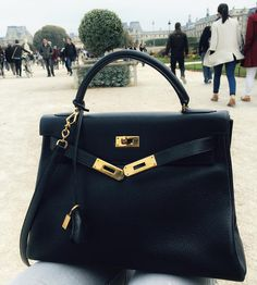 Hermes Kelly. black, with gold hardware & a strap I finally found it from…
