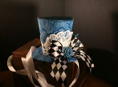 Alice Checkered Blue Rose Hat by WhitefoxHats on Etsy, $25.00