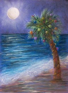 """Tropical Christmas by ~ABitMadInTheHead; Traditional Art / Drawings / Landscapes & Scenery  © Kelly Winslow, """"Just a little Christmas picture I drew to hang in my room done in pastels on construction paper."""""""