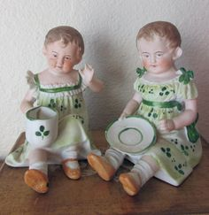 From my personal collection, here is a pair of Antique German Character Piano Baby Shamrock Twins, rarely seen, and so adorable in their different Piano, Vintage Decor, Vintage Antiques, Vintage Stuff, Antique Dolls, Vintage Dolls, Antique Pottery, Half Dolls, Luck Of The Irish