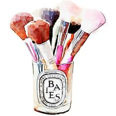 Diptyque Candle Makeup Brush Holder Print from Watercolor Painting... (27 CAD) ❤ liked on Polyvore featuring home, home decor, wall art, water colour painting, watercolor painting, watercolor wall art, water color painting and watercolor fashion illustration