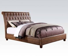 Pitney Brown PU Wood Queen Platform Bed w/Button Tufted Headboard