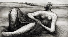 Reclining Figure 2 - Henry Moore, etching, 1978