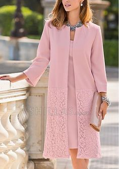 Pink Long Sleeve Lace Sheath Satin Mother of the Bride Dresses for custom-made…