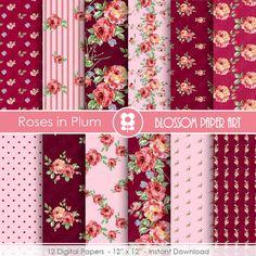 Floral Digital Paper Roses Digital Paper Plum by blossompaperart