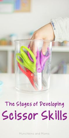 The Stages of Developing Scissor Skills - Munchkins and Moms Cutting Activities, Motor Skills Activities, Gross Motor Skills, Learning Activities, Preschool Activities, Kids Learning, Learning Shapes, Preschool Worksheets, Learning Spanish