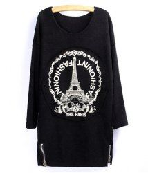 $10.72 Tower Letter Print Loose-Fitting Style Long Sleeves Scoop Neck Cotton T-shirt For Women