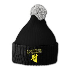 Black beanie with a grey pom-pom, features an embroidered 5SOS logo on the front.