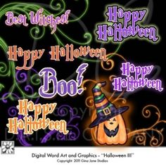 Halloween Words for making your own tags, bags and scrapbook pages. Features word art - Happy Halloween, Best Witches, Boo with Flourishes, Swirls and graphics for Halloween by Gina Jane for DAISIE Company