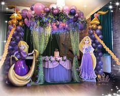 We have some tangled party ideas decoration that she will love it. Here is some inspiring decoration to have a tangled party that your kids dream of. Disney Princess Decorations, Princess Birthday Party Decorations, Rapunzel Birthday Party, Birthday Party Design, Disney Princess Birthday Party, Princess Theme Party, Birthday Party Centerpieces, Tinkerbell Party, Princess Disney