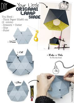 DIY origami lamp amazing for decoration in the bedroom or kitchen - Amazing Diy Decor Diy Origami Lampe, Origami Lampshade, Diy Lampe, Origami And Kirigami, Origami Paper, Origami Cube, Diy Projects To Try, Craft Projects, Deco Luminaire
