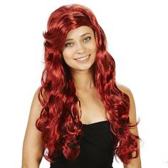 Adult Red Sea Maid Costume Wig, Size: standard, Multicolor