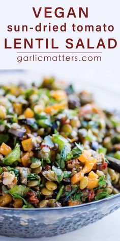 MEDITERRANEAN SUN-DRIED TOMATO LENTIL SALAD is an easy, gluten-free medley of wholesome, vegan goodness. It works great as a casual Summer lunch. So worth keeping and sharing! Especially if you're after including more plant protein and fibre in your diet! Lentil Salad Recipes, Vegetarian Recipes, Healthy Recipes, Cooking Recipes, Sausage Recipes, Vegan Recipes Summer, Cooking Pork, Cooking Tips, Keto Recipes