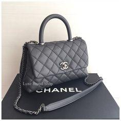 """#Chanel#Coco#Handle#9.5""""#Grey color#Rhw#Caviar skin#Hologram 21x#Cute#Rare#"""